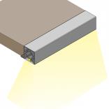 Profilis CUBE sienelei, nugarėlei iš plokštės, su grioveliu LED juostai